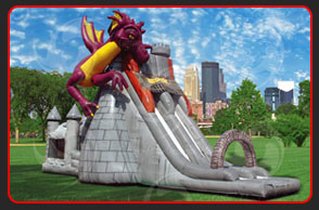 <strong>DRAGON'S TOWER</strong> – 50'x20'x31'<br/>Not only does this playful combo-unit feature a bouncer entrance, it also boasts a giant climb and a large slide. A stoned arch stands over the exit landing…a reminder of days past.