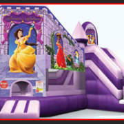 <strong>PRINCESS PALACE</strong> – 22'x18'x13'<br/>Little princesses can bounce and slide in this kiddie combo unit. Make her party an enchanted adventure…perfect for the little lady in your family.