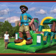 <strong>SAFARI, JR</strong> – 40'x11'x15'<br/>This themed mini-obstacle is great fun for kids that want to put their endurance skills to the test! Safari, JR features squeeze plays, giant obstacles, tunnels and a giant slide. This unit is sure to please.