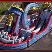 <strong>THE WILD ONE</strong> – 58'x30'x24'<br/>Our latest and greatest obstacle challenge mirrors the excitement of a real rollercoaster. Experience the twisting turns, climbing the mountains and zipping down the other side. This ride is a SCREAM!