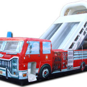 <strong>LIL' PUMPER FIRE TRUCK</strong> – 20'x8'x14'<br/>Perfect for the little party-goers! This truck looks just like the real thing, but with the dimensions of a backyard slide.