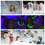 <strong>Foam Parties</strong><br/>Our foam dance party is safe, fun and can be adjusted to fit the needs and ages of your group.  Add music, lights and glow sticks for an extreme teen party or tone it down for a poolside community or family event.  The foam is safe and water soluble.  Rental includes foam and inflatable dance pit.