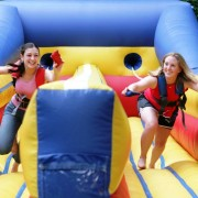 <strong>2-Lane Bungee Run</strong><br/> This traditional 2-person game requires contestants to stretch against their bungee cord in an effort to see who can get the farthest. This large interactive game is a great choice for a variety of events.