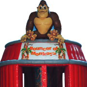 <strong>BOUNCER OF MONKEYS</strong> – 24'x20'x18'<br/>How many monkeys jumping on the bed? An adorable themed design based on a classic children's game. Ample bouncing space for monkeying around.